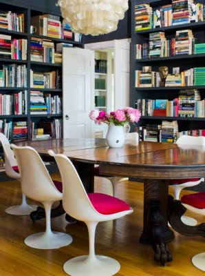 turn your dining room into a library