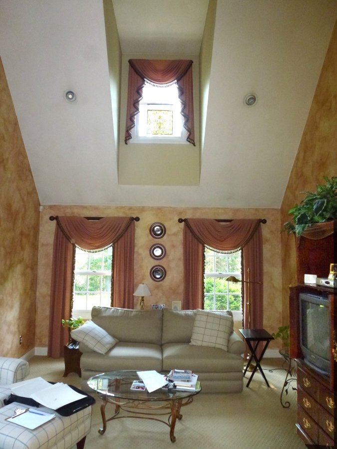sponge painted walls dated family room