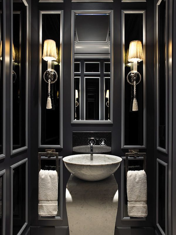 dramatic black bathroom