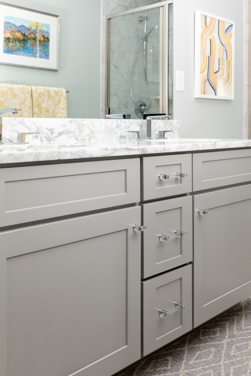 gray cabinetry Lucite hardware