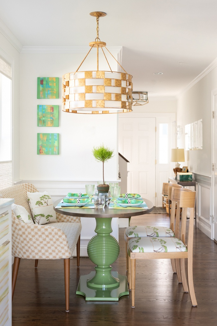 green table in dining nook