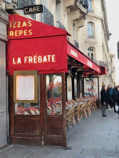 A french restaurant with red awning