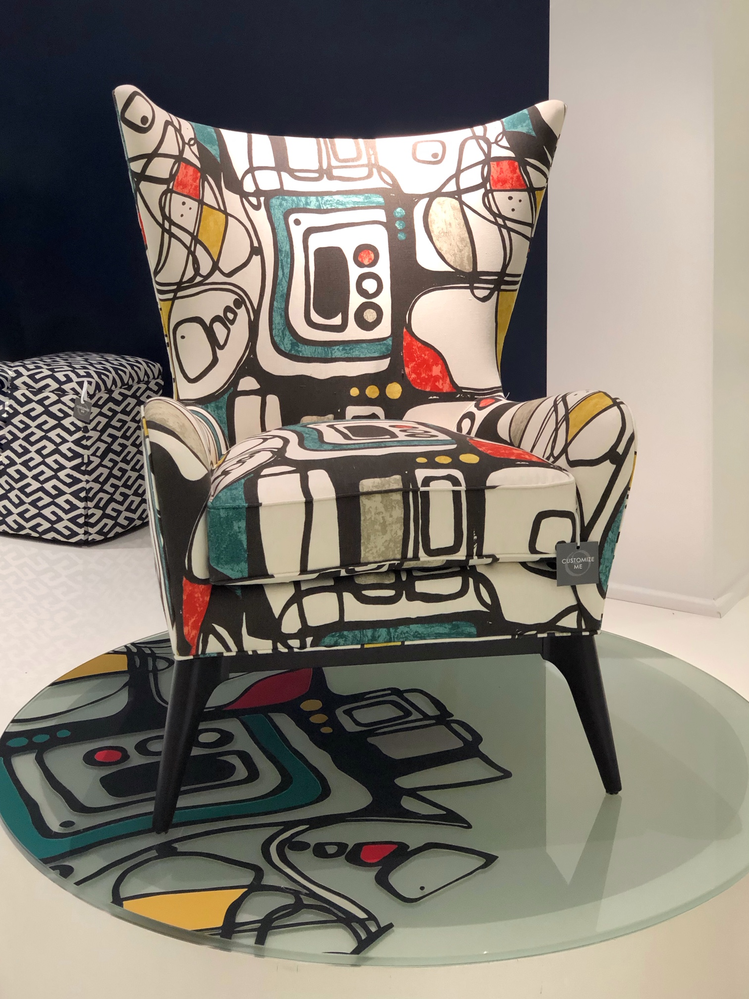 60's inspired patterned fabric on chair