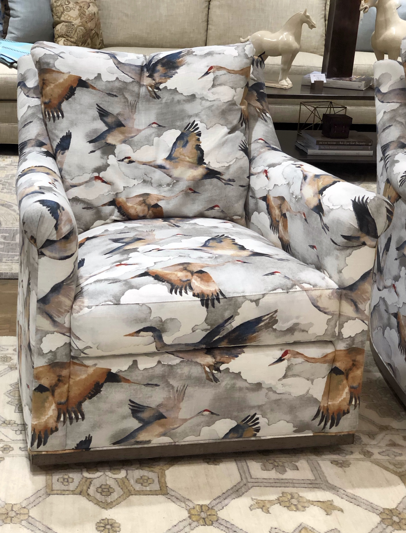 bird fabric on chair