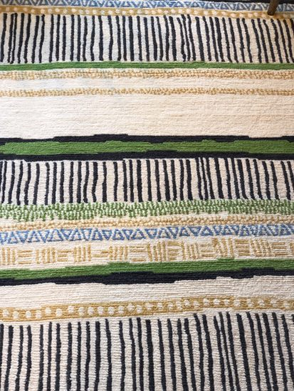 hand knotted striped rug