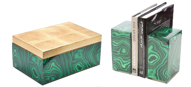 Couture lamps Malachite book ends and box