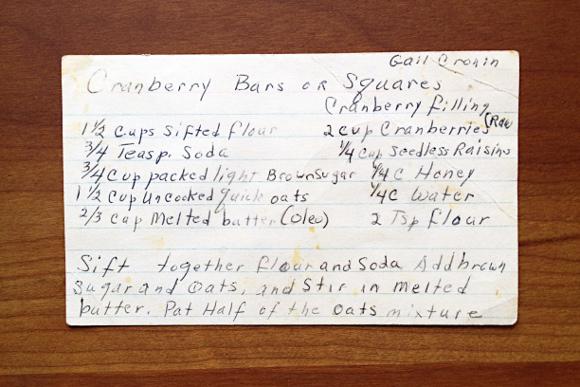 Gail Cronin's Cranberry squares 1