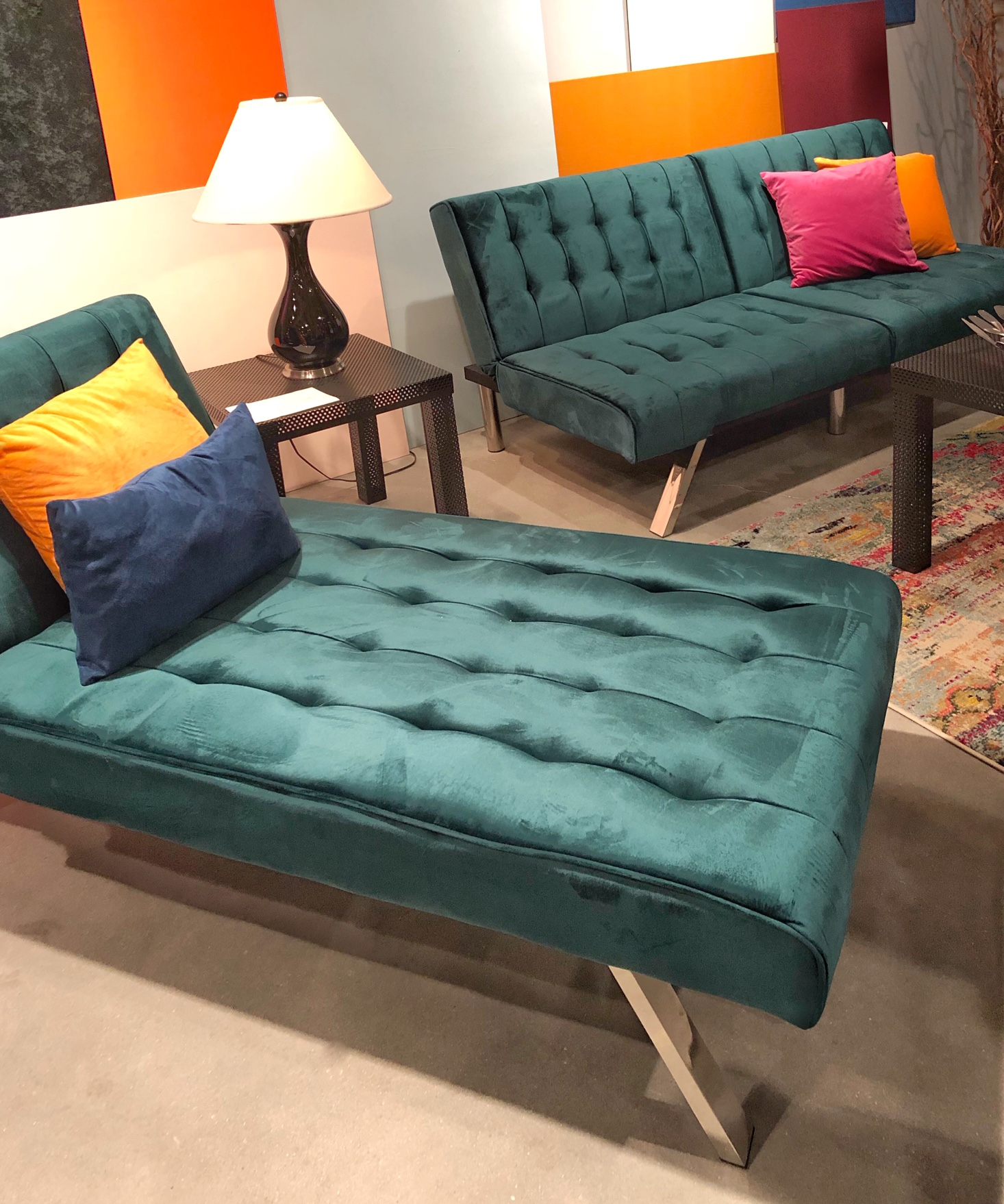 Green velvet Doral furniture