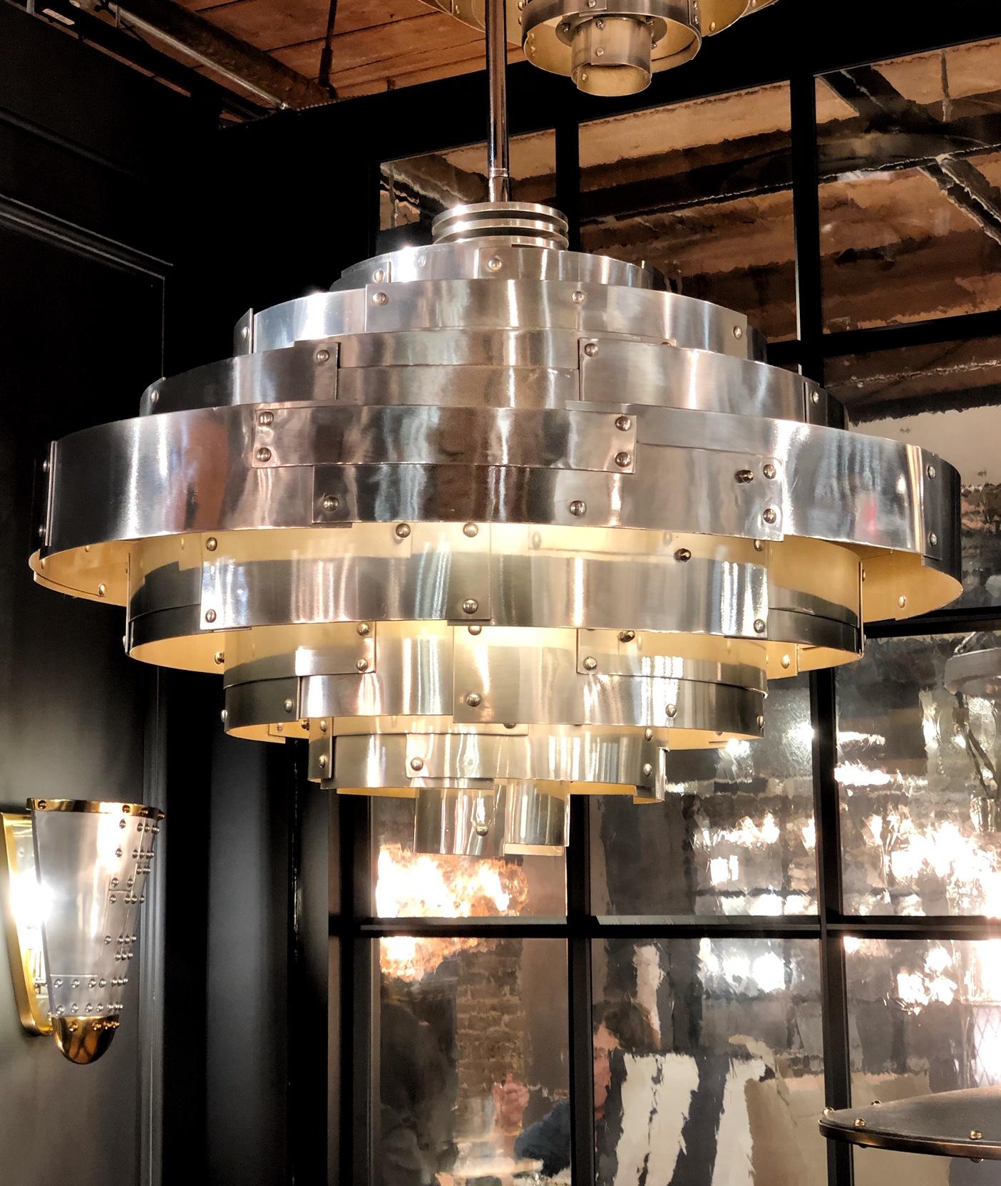 silver metal chandelier