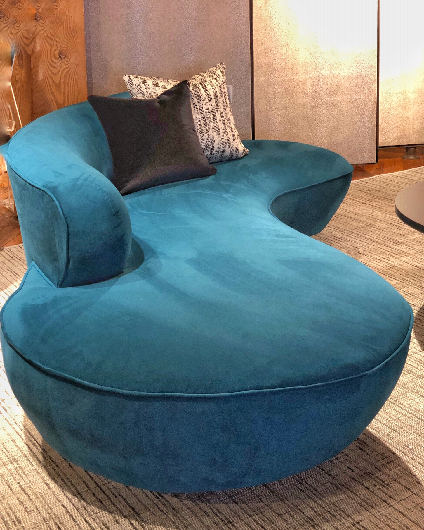 Kravet teal curved sofa