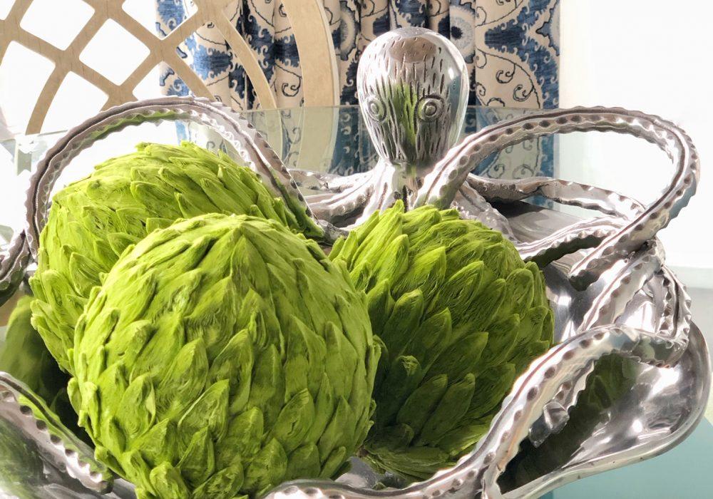 Mariposa bowl with green balls