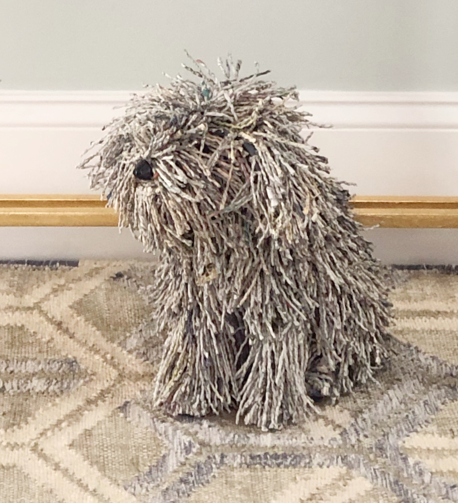 dog made from recycled newspaper