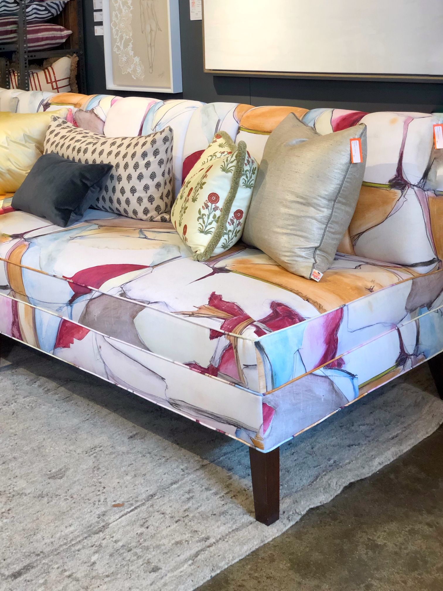 patterned fabric on sofa