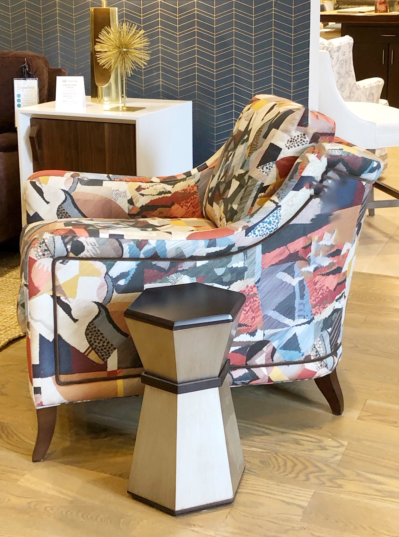 Design trend patterned fabric on chair