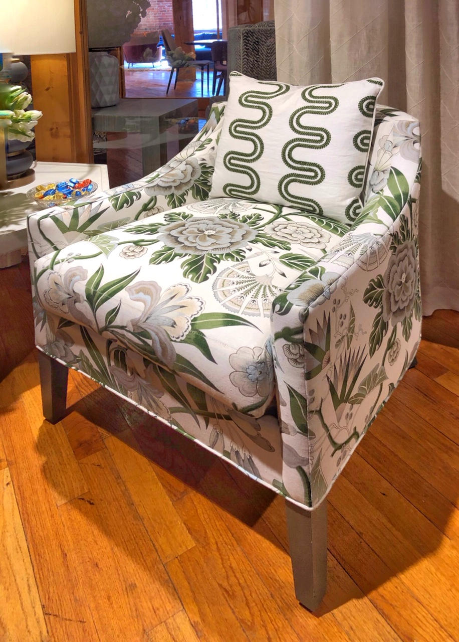 patterned fabric on chair design trend