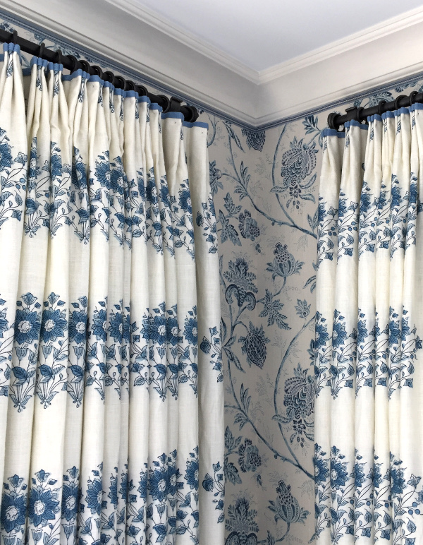 blue and white floral drapes