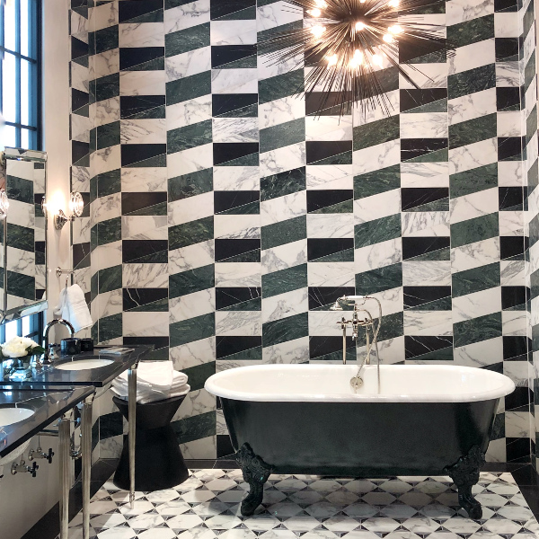 Ann Sacks black and white tile with soaking tub KBIS 2018