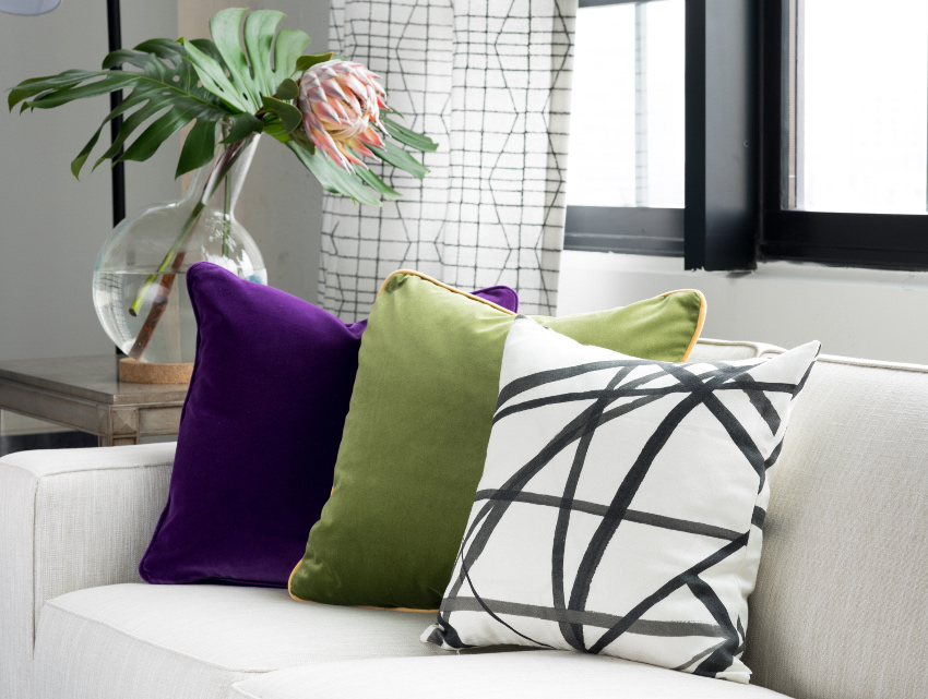 purple green pillows with Arianna Belle pillow