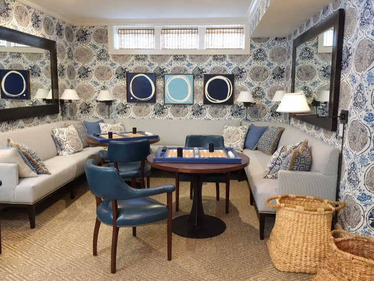 blue and white game room, coastal idea house, Mark Sikes