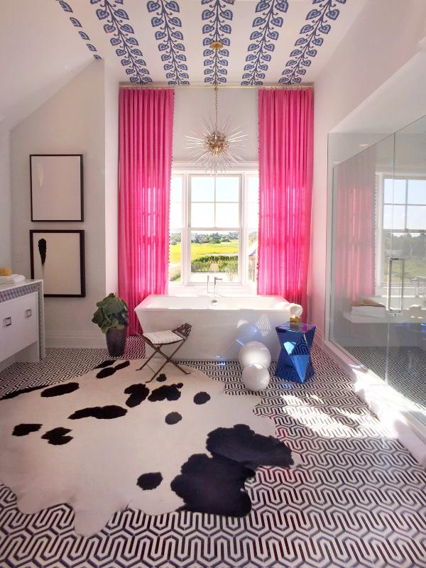 hot pink drapery panels Hampton Show House window treatments