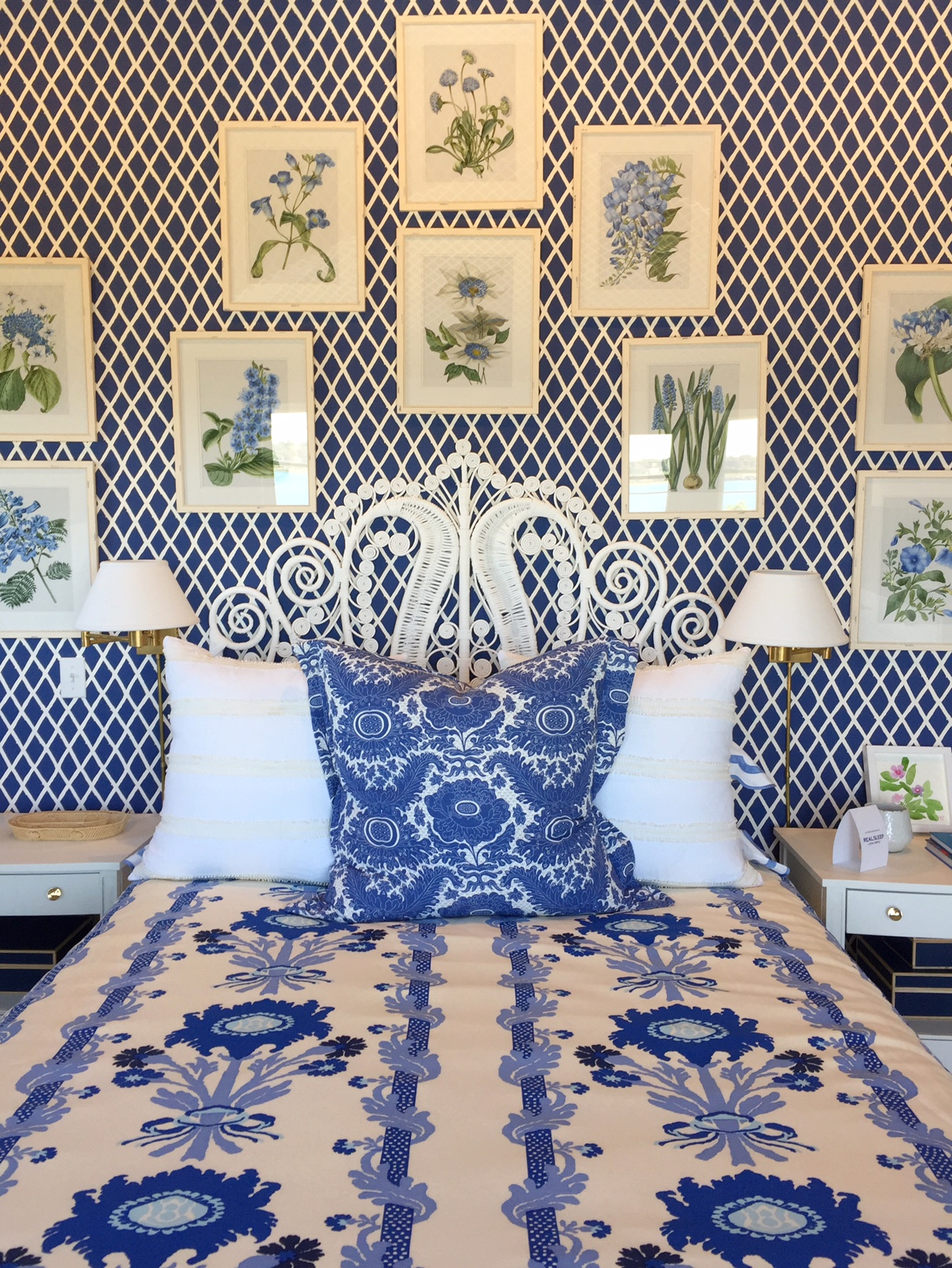 blue and white wallpaper in bedroom by Mark Sikes