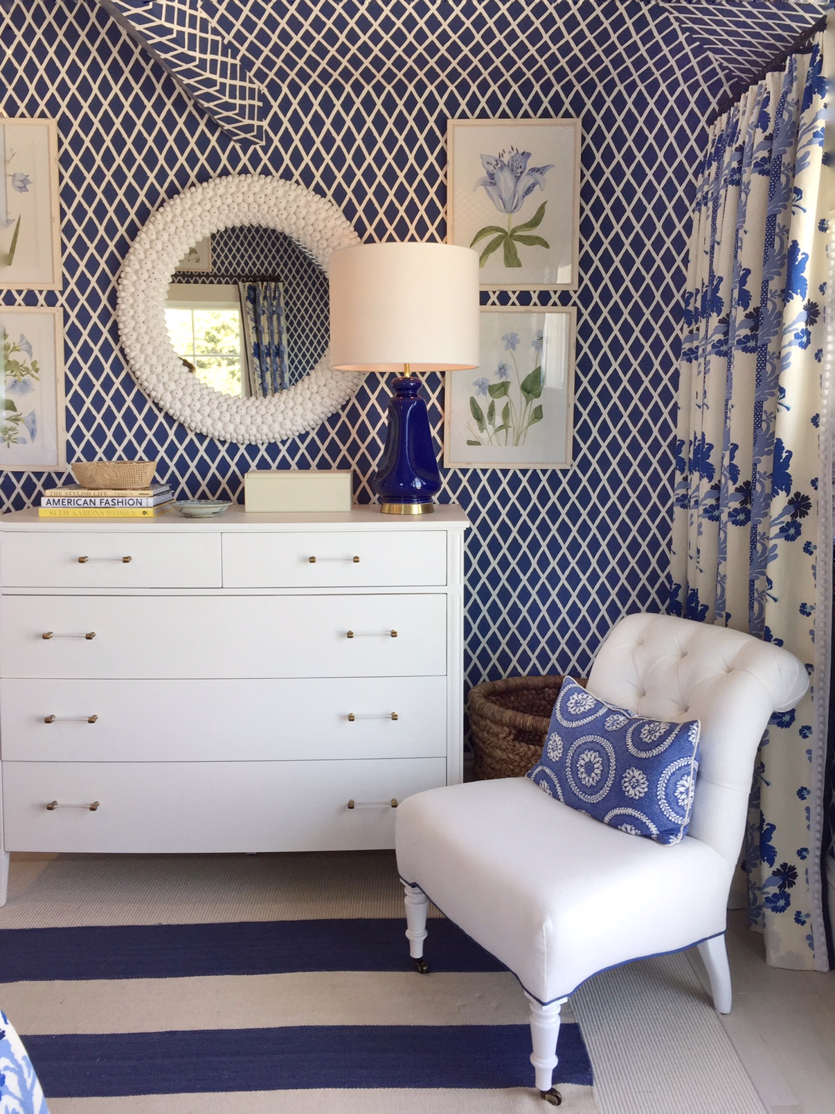 blue and white wallpaper, coastal idea house by Mark Sikes