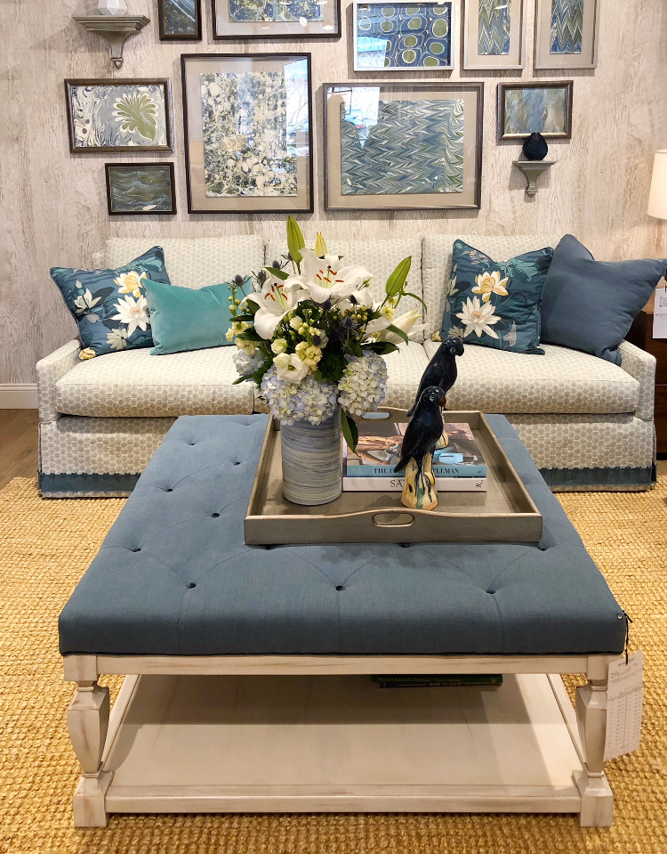 blue fabric ottoman