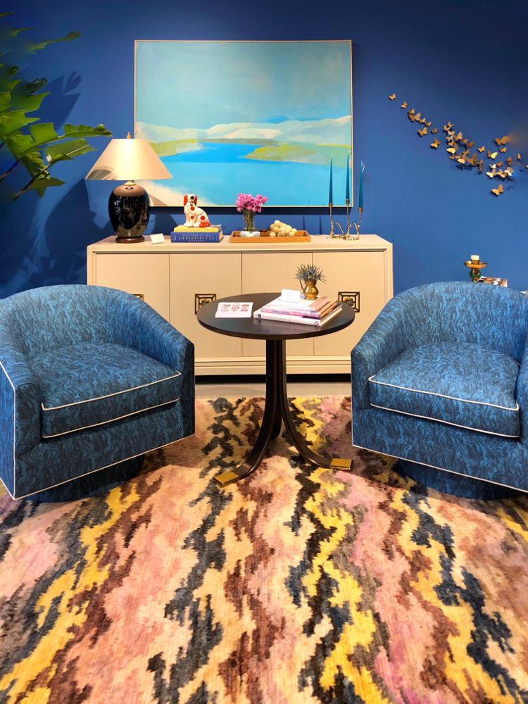 blue walls pink rug