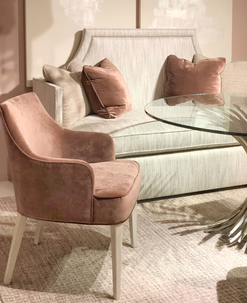 blush chairs at Bernhardt