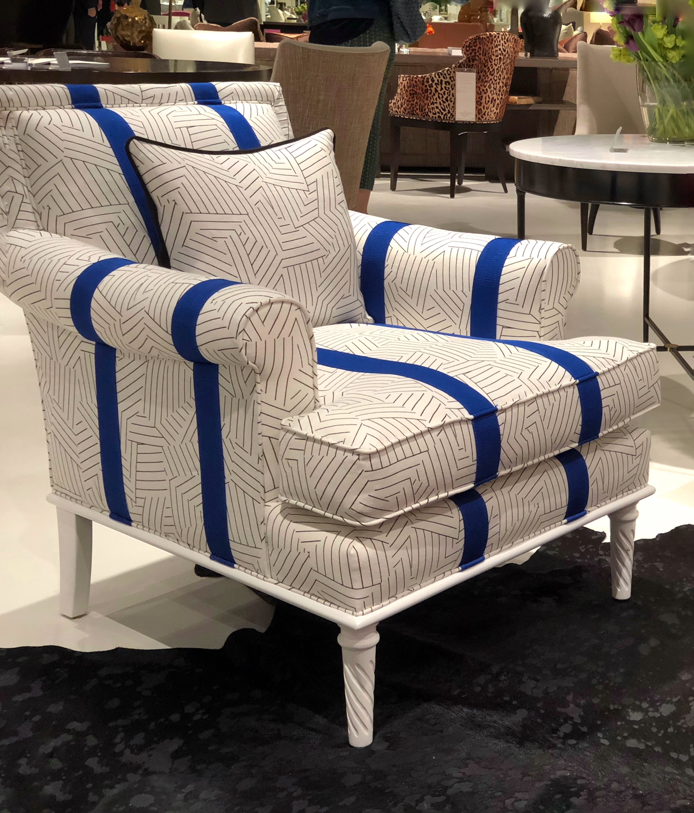 white chair with blue trim