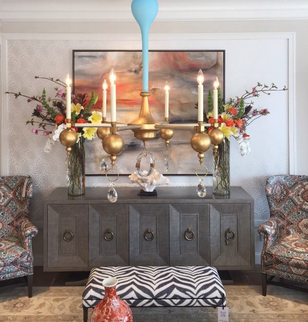 High Point show room with Louise Gaskill chandelier before using editing crop tool