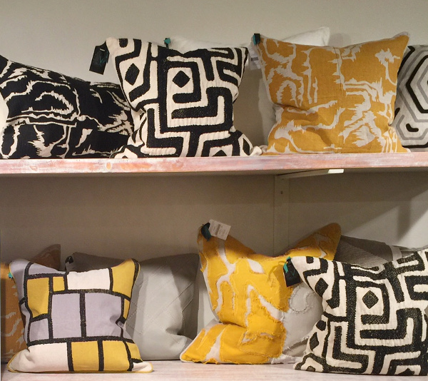 Black and Yellow African inspired pillows at Classic Home