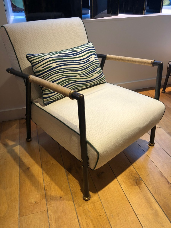 armchair with brass and cork arms