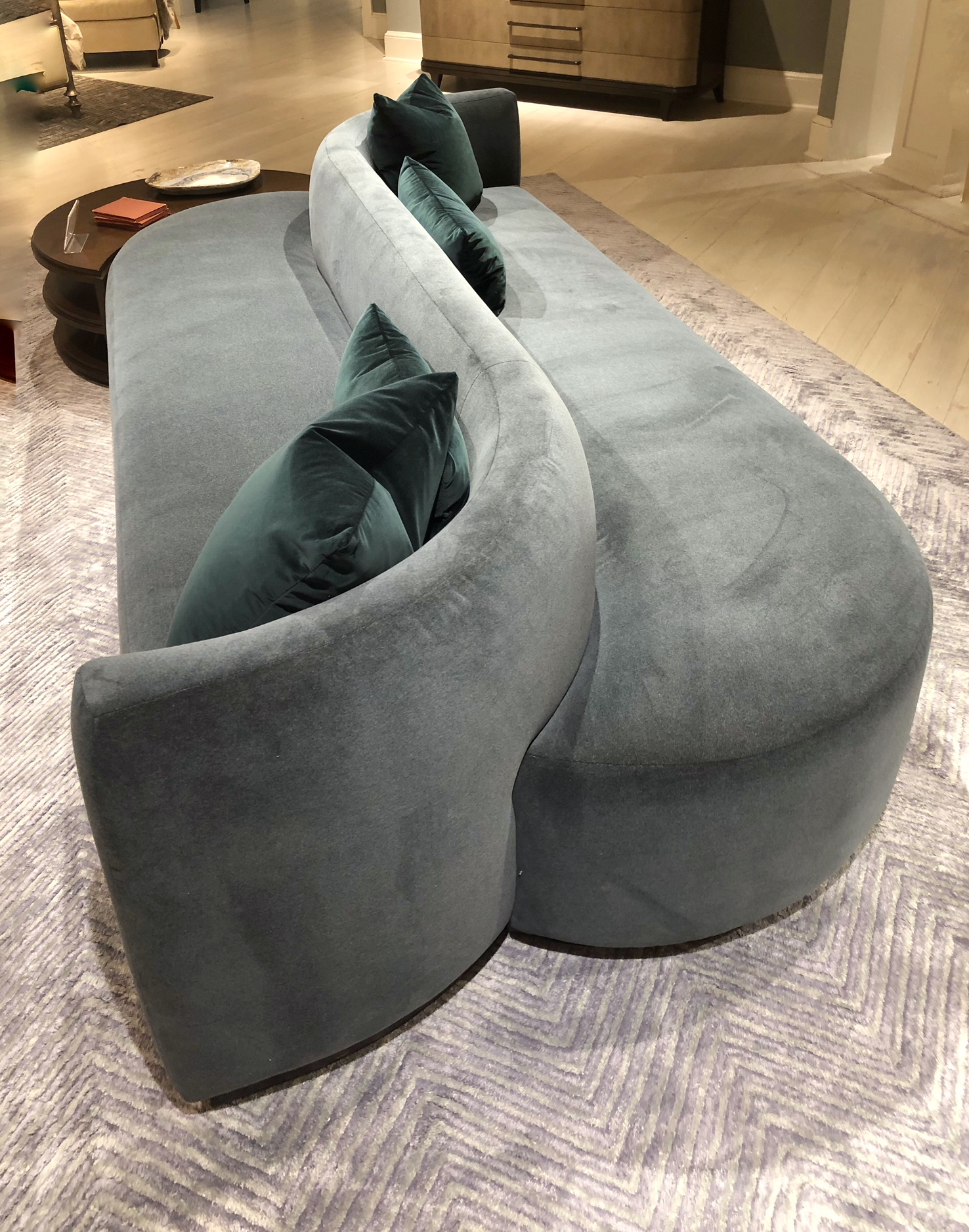 curved two sided sofa