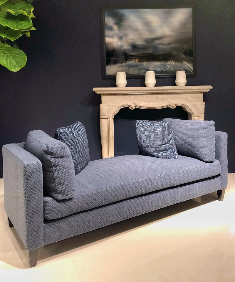 denim blue sofa at Bernhardt