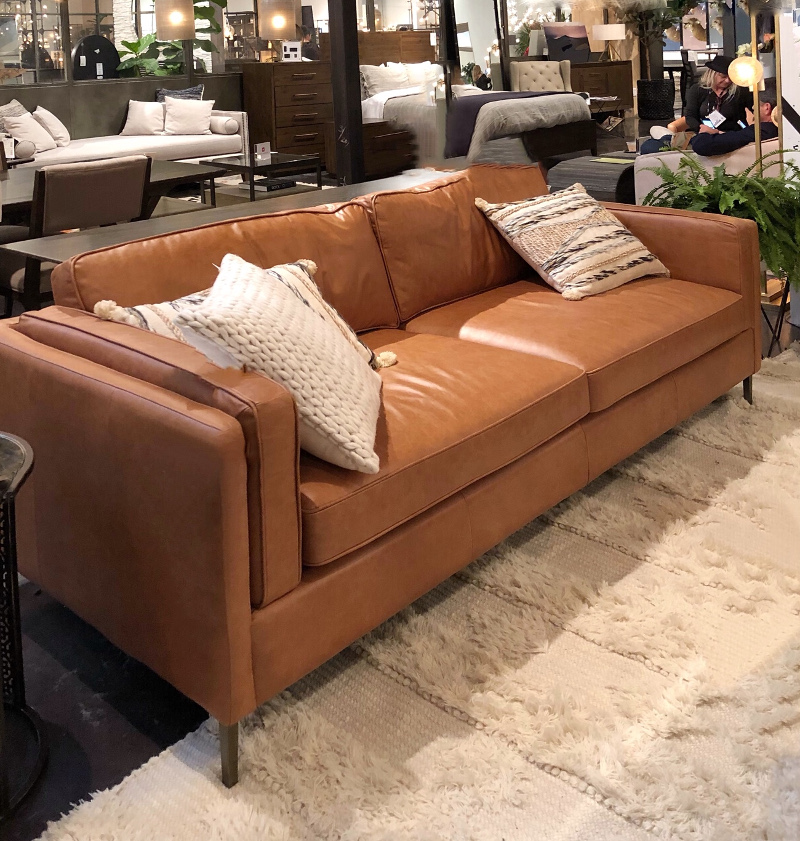 Caramel colored leather sofa