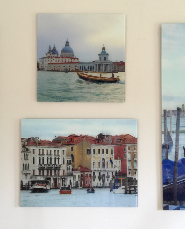 Photos mounted on glass