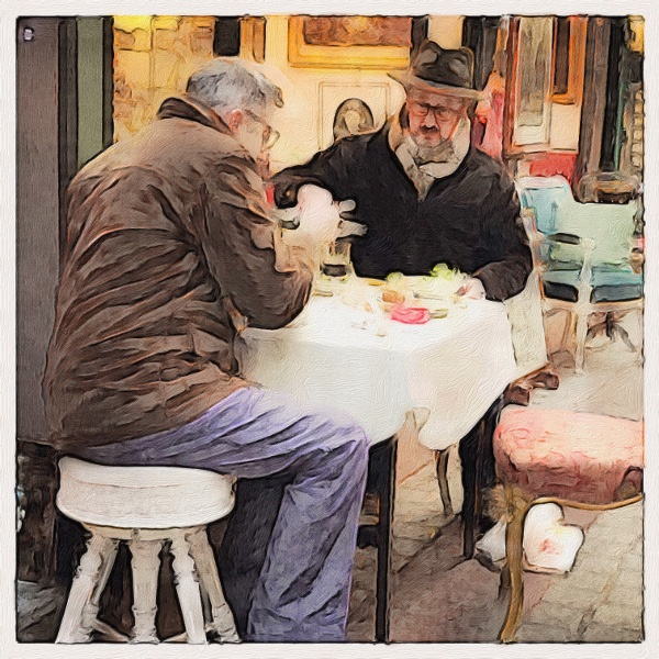 french men having lunch
