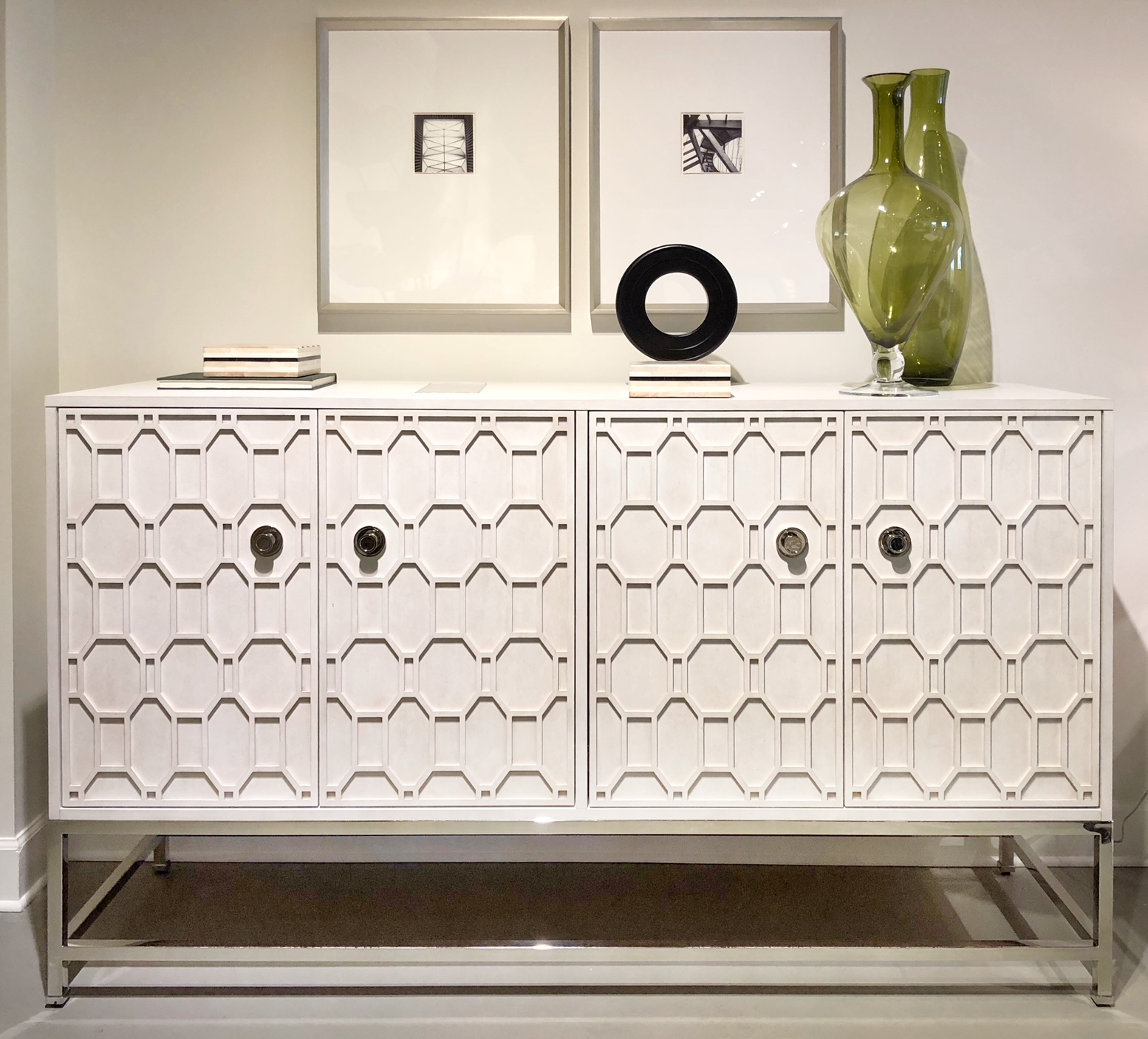 white console with geometric designed front