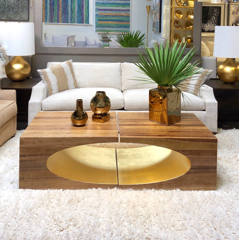 gold coffee table at EJ Victor