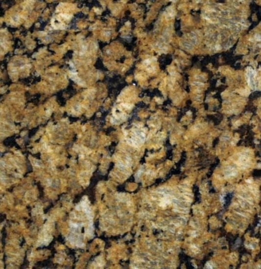 gold and black speckled granite