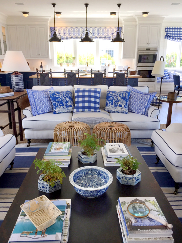 blue and white interior