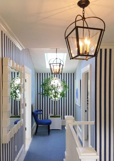 blue and white striped wallpaper