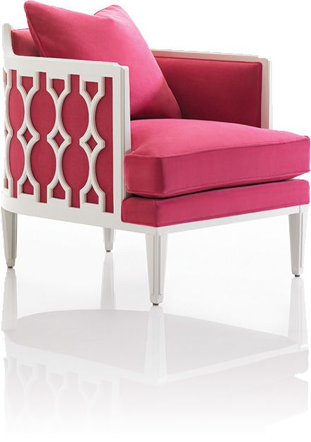 white lacquered chair with hot pink velvet.