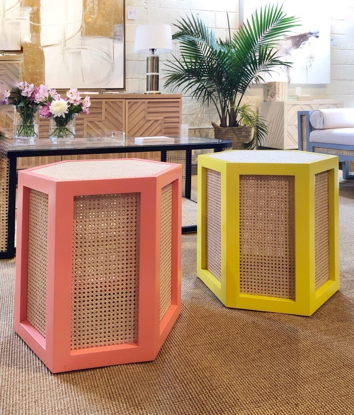 pink and yellow cane stools