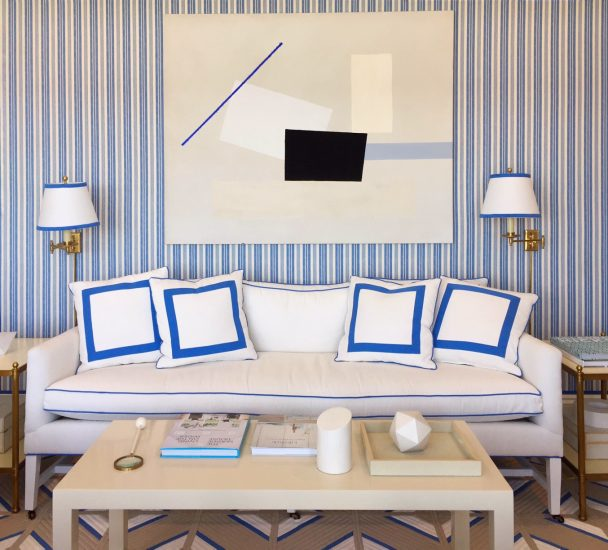 Blue and white striped wallpaper, coastal idea house, Mark Sikes