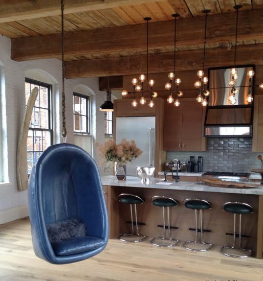 Blue leather swing in kitchen