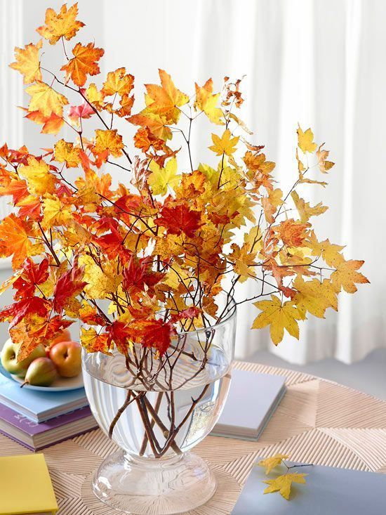 leaves in glass vase