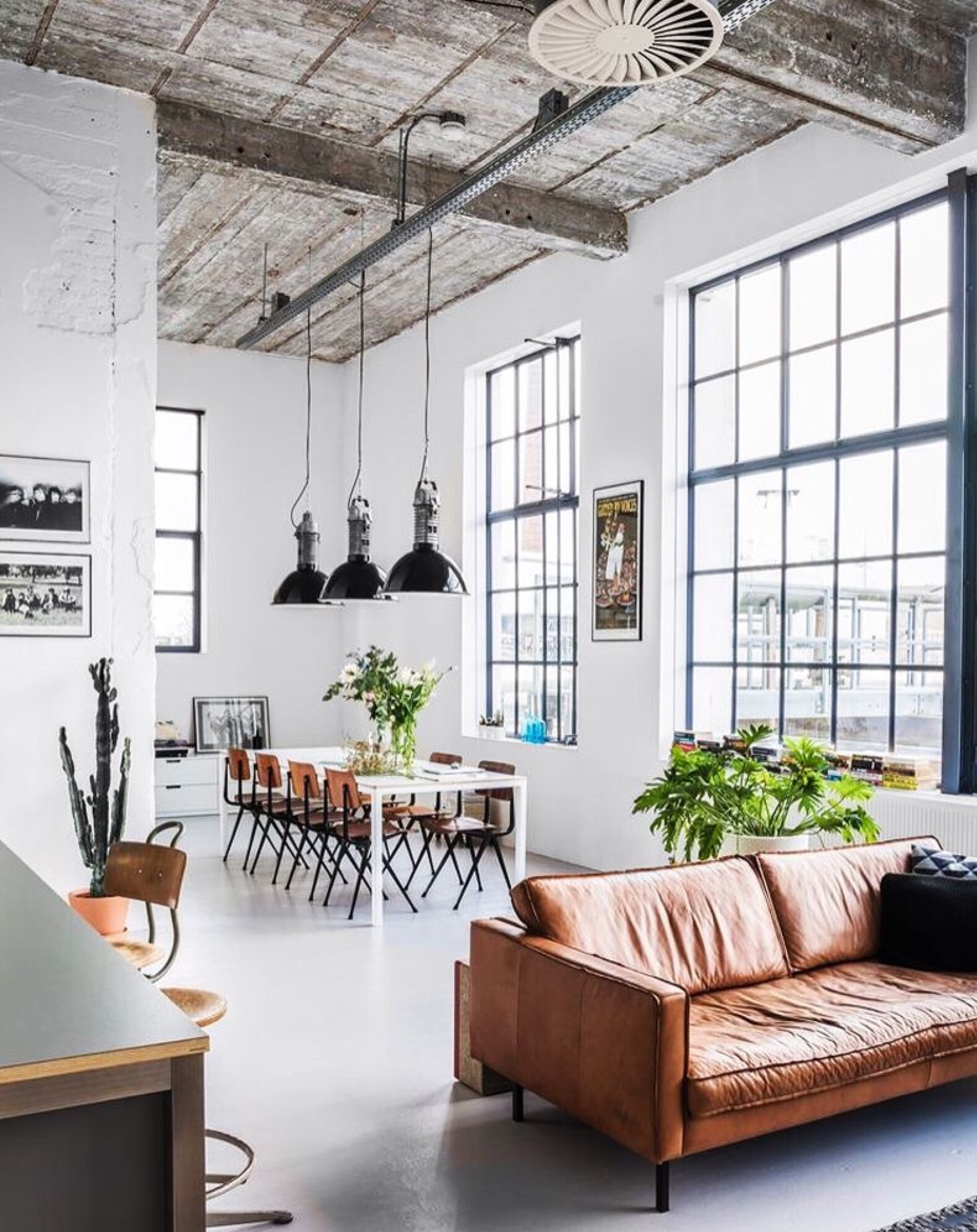 open loft space big windows and white floor