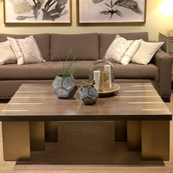 wood with brass inserts coffee table